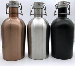 Wholesale Bottle Flip Tops - 64oz Stainless Steel Beer Growler Homebrew Beer Bottle Secure Swing Top Lid Craft Beer Bottle Saver Flip Cap new