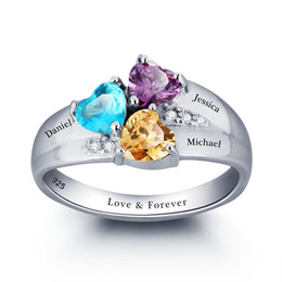 Wholesale Family Weddings - yizhan Mothers Rings Personalized Birthstone Family Ring 925 Sterling Silver Cubic Zirconia DIY Names Ring Valentine's Day Gift