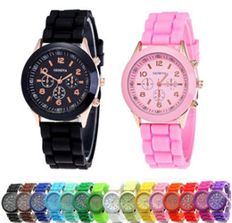 Wholesale Sport Fashion Silicon Watch - 2017 Luxury Brand Geneva Watches Rubber Silicon Candy Sports Watch Quartz Fashion Mens Watches Automatic Luxury Jelly Women wristwatch