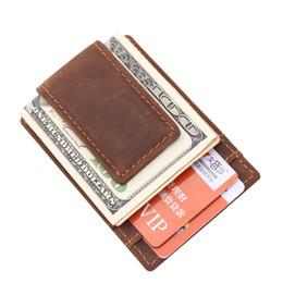 Wholesale Money Clip Wallet For Women - slim leather wallet money clip for man and woman retro style brown color design money clip wholesale MOQ 3 PIECE