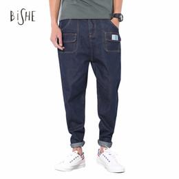 Wholesale Drop Crotch Jeans - Wholesale- Jeans Men Fashion Vintage Slim Straight Harem Jogger Drop Crotch Pockets Denim Pencil Pants Jeans long pants trousers