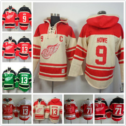 Chemises d'ailes en Ligne-Sweats à capuche Detroit Red Wings 9 Sweat-shirts à capuche Gordie Howe 13 Pavel Datsyuk Ice 71 Sweats à capuche Rouge vert beige
