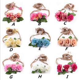 Wholesale Light Pink Rose Garland - Baby Rose Flower Headbands Garlands Adjustable Hemp Rope Floral Wedding Bride Headdress Girls Princess Children Beach Hair Accessories