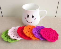 Wholesale Crochet Flower Decoration - Wholesale- 6pcs lot 9cm Round Flower Crochet Coaster Cup Pot Pad Multicolor DIY Crochet Coffee Cup Placemat Table Decoration Kithen Wares