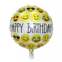 Wholesale Balloon Cartoon Aluminum Decoration - New emoticons Emoji balloon happy birthday aluminum foil balloon cartoon children birthday decoration
