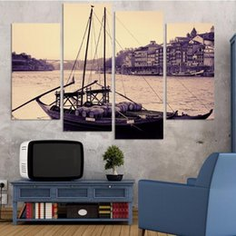 Wholesale Antique Impressionist Painting - Fashion Free Shipping antique photography boat Seaview picture Modern Wall Painting Home Decorative Art Picture Print On Canvas