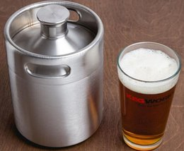 Wholesale Keg Barrel - Stainless Steel 2L 64oz Mini Beer Bottle Barrels Beer Keg Screw Cap Beer Growler Homebrew Wine Pot Barware For Party LLFA