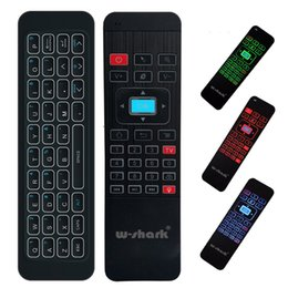 Wholesale Remote Control W - W-shark MP3 Air Mouse Backlight Multifunction Remote Control Wireless Keyboard With Backlit For Android Smart TV Box PC MXQ Pro MX3