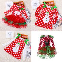 Wholesale Wholesale Long Straight Skirts - Baby Girls Dress Princess Dress Sleeveless Bowknot Christmas Party Dot Tulle Lace Long Sleeve Bubble Skirt