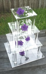 Wholesale Square Cupcake Stands - 4 Tier Square Clear wedding favors Cupcake Wedding Party Acrylic Round Cake Stand  Cupcake Stand Tower  Dessert Stand