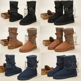 Wholesale Boots Sale Australia - Women WGG Australia Classic Boots Hot sale girl triple black Brown blue Khaki boots Boot Snow Winter boots leather outdoor shoes size 35-40