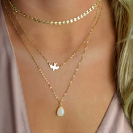 Wholesale Bird Drop - TOMTOSH 2017 New Peace Dove Soar Flying 3 Layers Crystal Sequins Chain pigeon bird Water Drop Pendant Multilayer Necklace Female