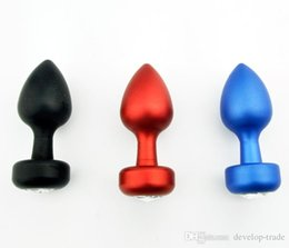 Wholesale Red Anal Plug - Metal Whole Body Black Red Blue Anal Plug BONDAGE FETISH Middle Size Hot Gay A028