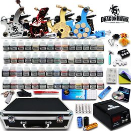 Wholesale Tattoo Kit Gun Ink Needle - Complete Tattoo kit 4 Machine Guns 56 Color Inks Power Supply 50 Needles Set D176GD Free Shipping