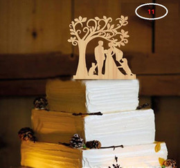Wholesale Personalized Party Decorations - The wedding cake inserted card wood material Wedding cake inserted personalized wedding decoration wood plug free shipping WT047