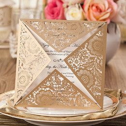 Wholesale Laser Paper Invitations - New Design Wedding Invitations Cards Gold Paper Blank Inner Sheet Laser Cutting Wedding Invitation Flowers Hollow Wedding Cards