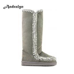 Wholesale Black Wide Calf Boots - Andralyn Winter women sheepskin 40cm tall Eskimo snow boots flat with top quality knee high boots women shoes zapatos mujer