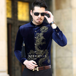 Wholesale Velvet Chinese Style Dress - Wholesale- 2017 New Fashion Chinese Style Long Sleeves Shirt High Quality Casual Gold Velvet Long Sleeve Shirt Men Plus Size 6XL Tops Coat