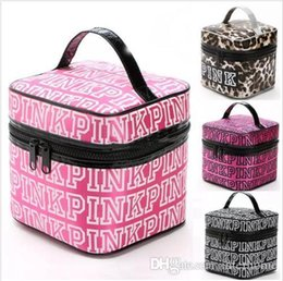 Wholesale Make Up Organizer Boxes - PINK Cosmetic Bags VS Pink Make Up Cases VS Makeup Box Secret Travel Pouch Fashion VS Toiletry Pink Letter Organizer Leopard Handbags B2044