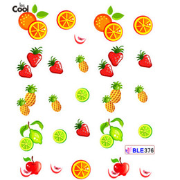 Wholesale Strawberry Beauty - Wholesale- 1 Sheet NEW Fruit Water Transfer Nail Stickers Strawberry Pineapple Orange Designs Beauty Nail Decal Decoration Tools BLE376