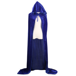Wholesale Blue Man Halloween Costume - Adult Witch Long Halloween Cloaks Hood and Capes Halloween Costumes for Women Men Cosplay Costumes Velvet Cosplay Clothing