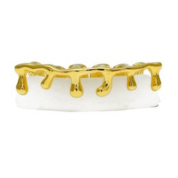Wholesale Hip Hop Teeth - New Custom Fit Gold Color Hip Hop Teeth Drip Grillz Caps Lower Bottom Grill Silver Grills