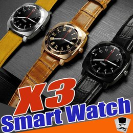 Wholesale Android X3 - X3 Smartwatch Bluetooth Smart Watch with 0.3M Camera MTK6261D Smartwatch Android Phones Micro Sim TF Card With Retail Box Free DHL shippping