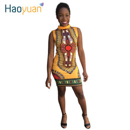Arte popular vintage on-line-3XL 2017 Mulheres Casual Vestido de Verão Sexy Arte Folclórica Africano Imprimir Vestidos Das Senhoras Do Vintage Dashiki Vestido Bodycon Plus Size Roupas 17301