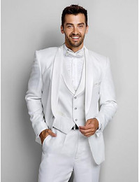 Wholesale Beach Wedding Wear For Men - Shawl Collar Classic White Men Suits Groomsmen Tuxedos For Beach Wedding Men's Casual Party Wear (Jacket+Pants+Vest+Bow)