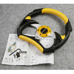 Wholesale Wheel Jdm - Universal PU Leather Stitching Sport JDM Auto Car Racing Steering Wheel YELLOW, Spare Parts and Accessories Replacements