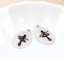 Wholesale Ballet Dancer Bracelet - Free Shipping 10pcs lot Silver Plated 13*23mm Ballet Dancer Ballerina Printed Oval Shape Charm Pendant For Necklace Bracelet DIY Accessories