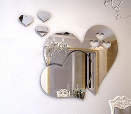 Wholesale Love Heart 3d Stickers - Removable 3D DIY Room Decal Mirror Wall Sticker Mural Decor Love Hearts