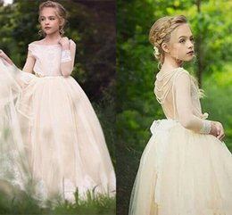Wholesale Orange Country Girl - Fairly Champagne Long Sleeves Flower Girl Dresses for Country Weddings Princess A Line Scoop Neck Backless Long Kids Formal Wear Gowns Cheap