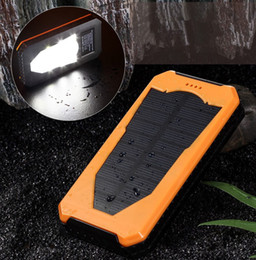 Wholesale External Battery Led - 12000mAh Solar Power bank Charger External Battery Pack led light Power Bank Dual USB Powerbank with LED camping Light