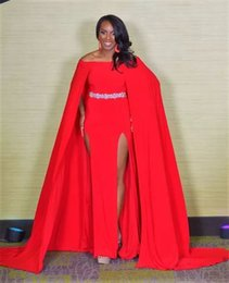 miss usa pageant gowns Coupons - Miss USA Pageant 2017 Evening Gowns Red Off-Shoulder Satin A-Line Beaded Belt Front Split with Cape Cheap Women Formal Wear Long Prom Gowns