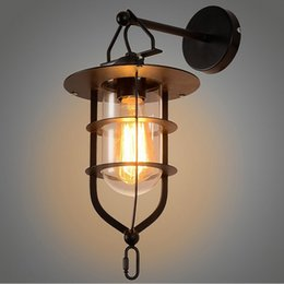 Wholesale Indoor Bars For Home - Loft Wall Lamp with Glass Lampshade Industrial Wall Lighting for Hotel Bar Living Room Home Indoor Decoration LLFA