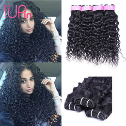 Wholesale indian remy wavy hair weave - 8A Brazilian Virgin Human Hair Bundles Water Wave 4 Bundles Malaysian Peruvian Indian Brazilian Hair Extensions Wet And Wavy Hair Weaves