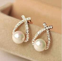 Wholesale Nice Shops - Nice shopping!! 2017 Fashion Gold Crystal Stud Earrings Brincos Perle Pendientes Bou Pearl Earrings For Woman POW25