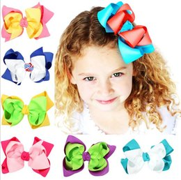 Wholesale Little Girls Hair Bows - 2017 Little Baby Girls Princess Bow Barrettes Toddler Cute Double Bowknot Headbands Babies Hair Accessories
