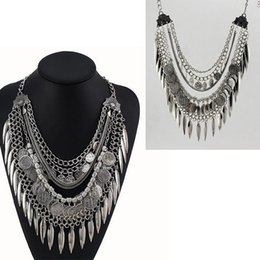 Wholesale Tribal Necklace India Wholesale - 10pcs Gypsy Bohemian Beachy Chic Coin Statement Necklace Boho Festival Silver Fringe Bib leaf Coin Ethnic Turkish India Tribal F70