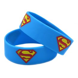 Wholesale Silicone Wristband Superman - Hot Sell 1PC Ink-Fill Colour Superman Silicone Bracelet, Wear This Latex-Free Wristband To Support The One You Love