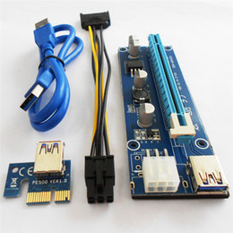 Wholesale Pci Express Cable Pin - PCI-E Express Extender Riser Card Adapter 1X to 16X w 4 6 15 Pin Power Cable USB 3.0 Ports Cables For Bitcoin