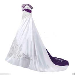 IMAGEN REAL Vestidos de novia elegantes 2017 una línea sin tirantes de cuentas bordado blanco púrpura vestido de novia de la vendimia por encargo de alta calidad desde fabricantes