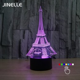 Wholesale 3d Eiffel Tower Decor - Wholesale- 3D USB Illusion Eiffel Tower Table Decorations LED Desk Lamp Novelty Gifts for Kids Home Decors