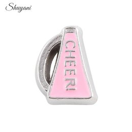 Wholesale Cheer Charms For Lockets - Enamel Pink Trumpet Cheer Floating Locket Charms for Glass Locket 9*6mm Silver Plated Charm for DIY Bracelet