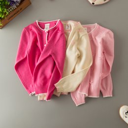 Wholesale Bow Cardigan Cotton - Everweekend Girls Knitted Bow Cardigan Candy Color Sweater Jackets Spring Fall Cute Children Fashion Clothing Outwears