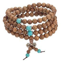 2017 nouveau Vente En Gros-8MM Bois De Santal Bouddhiste Méditation Prière Perle Mala Collier Bracelet Bijoux Pour Femmes Hommes Bijoux ? partir de fabricateur