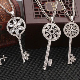 Wholesale Pave Charm Cheap - 15 Style Mix New Brand Style Silver Plated Crystal Pave Key Pendants Necklace Charms Hollow Out Jewelry DIY Wholesale in Bulk Cheap Price