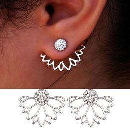 Wholesale Wholesale Earring Jacket - New Rhinestone Front Back Flower Lotus Stud Earrings For Women Fashion Ear Jacket Jewelry Gold Silver plated