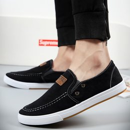 Wholesale Men Pedal Shoes - New men washed denim canvas shoes set foot pedal shoes lazy British Fashion Leisure Canvas Shoes